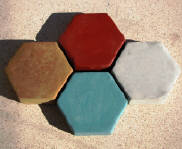 P-992 Thick hexagon Driveway Pavers made with Olde World Concrete Moulds.