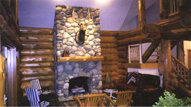 river rock stone fireplace.